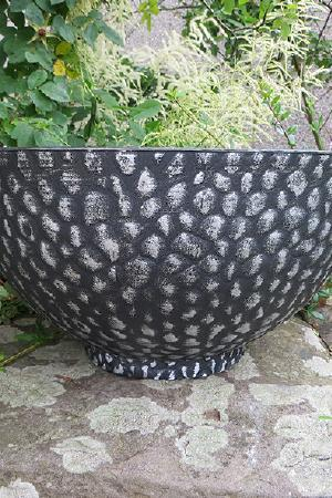 Bowl Cathay Black with Silver 14 Inches