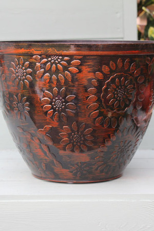12 inch Glazed Chengdu Planter Black & Copper