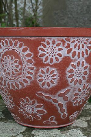 12 inch Chengdu Planter Terracotta and White